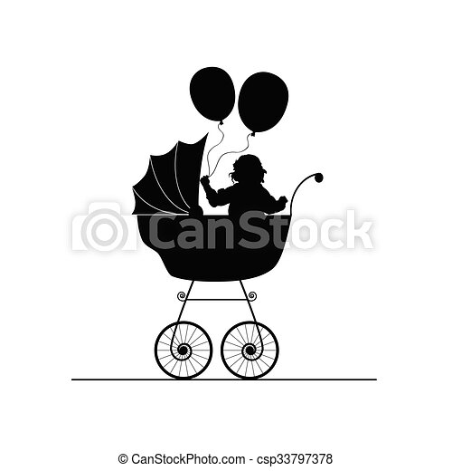 child in stroller illustration - csp33797378