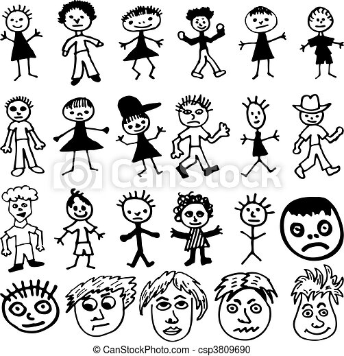 Child-Like Drawings of Cartoon Stick People - csp3809690