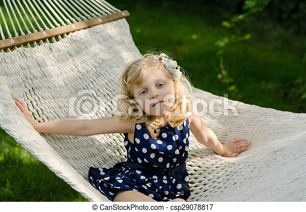 child lying in hammock - csp29078817