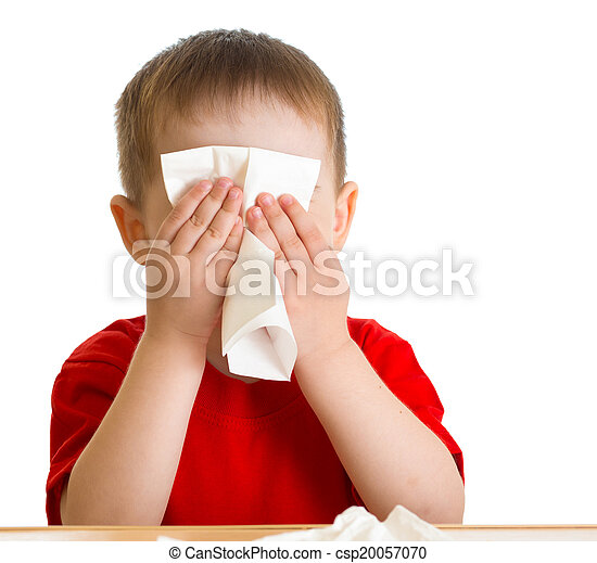 Child nose wiping with tissue - csp20057070