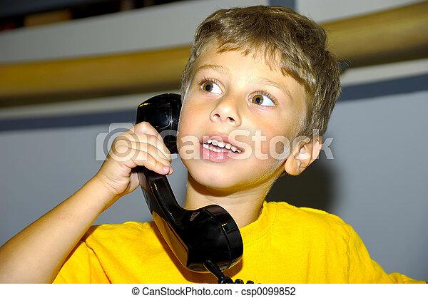 Child on a Phone - csp0099852