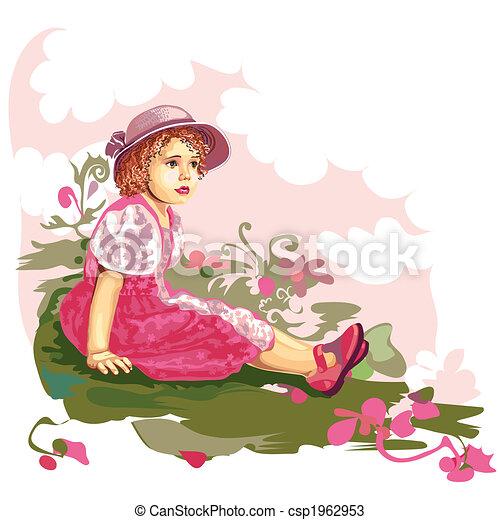 Child On Flower Meadow - csp1962953