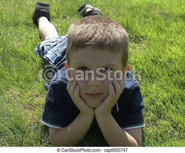 Child on Grass 2 - csp0003747