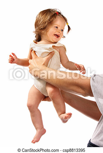 Child on hands at daddy. - csp8813395