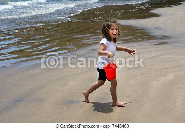 Child play on the beach  - csp17446460