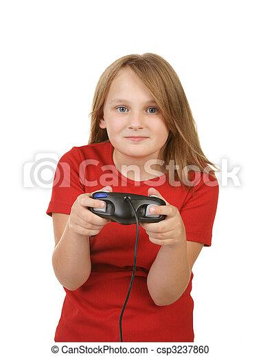child playing video games, - csp3237860