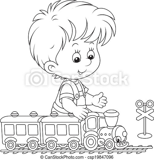 Child Playing With A Train Little Boy Playing With A Small Toy Train