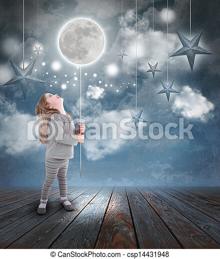 Child Playing with Moon and Stars at Night - csp14431948
