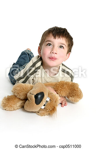 Child playing with stuffed toy - csp0511000