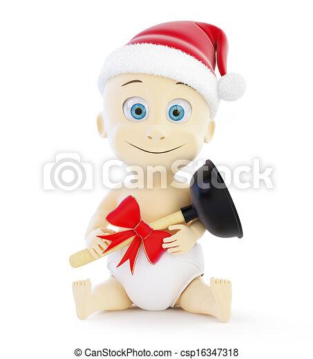 child plumber gift santa hat 3d Illustrations on a white background - csp16347318