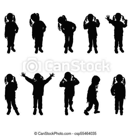 Child Posing With Cute Hairstyle Silhouette