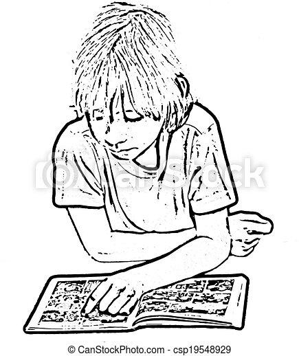 child reading comic book csp19548929