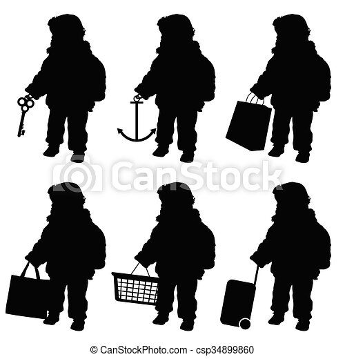 child set with object in hand illustration - csp34899860
