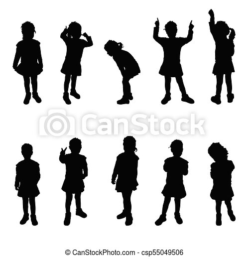 child silhouette cute girl poses on white vector clipart search rh canstockphoto com child silhouette vector head child face silhouette vector