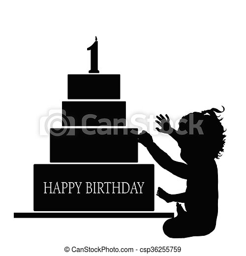 child  silhouette illustration with birthday cake - csp36255759