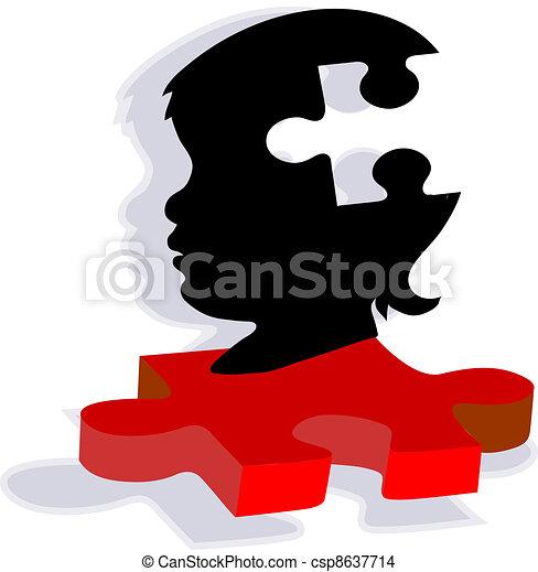 Child Silhouette on Autism Puzzle - csp8637714