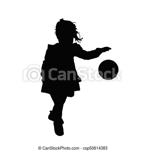 child silhouette playing with ball illustration - csp50614383