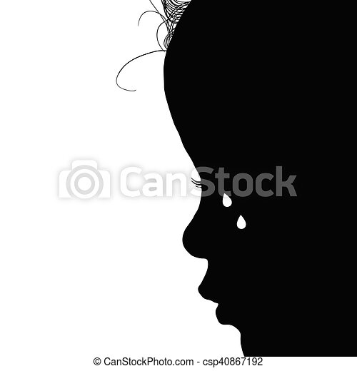 child silhouette with tears illustration in black - csp40867192
