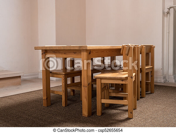 Child Sized Table And Six Chairs In Classroom   Csp52655654