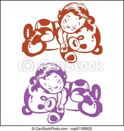 Child sleeping on a teddy bear, silhouette on a white background, pink and brown, - csp61188622