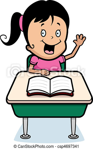 a happy cartoon child student at a desk in school vector clip art rh canstockphoto ie