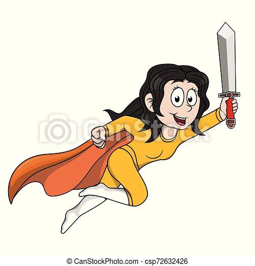child supergirl holding sword - csp72632426