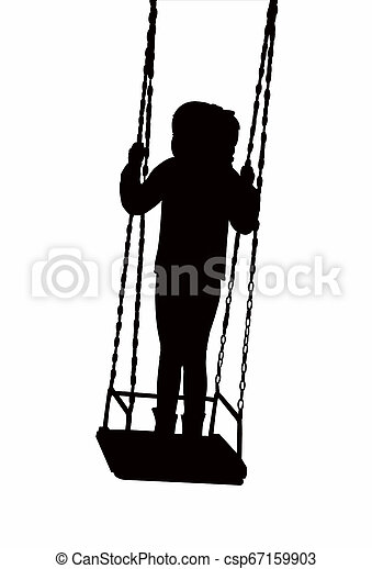 child swinging body silhouette vector - csp67159903