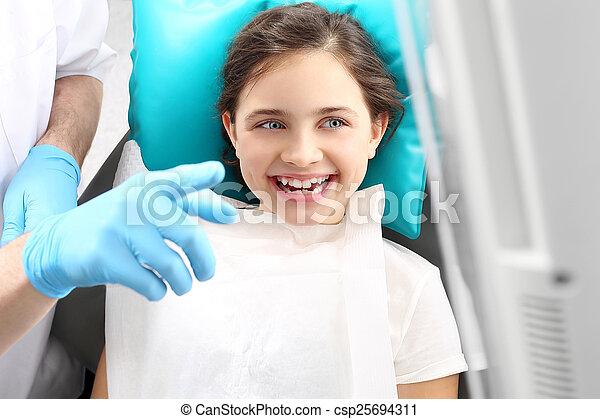 Child to the dentist - csp25694311