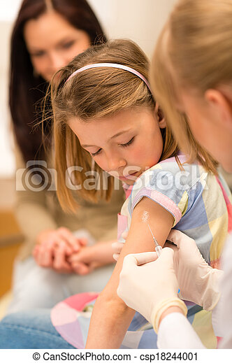 Child vaccination pediatrician apply injection - csp18244001