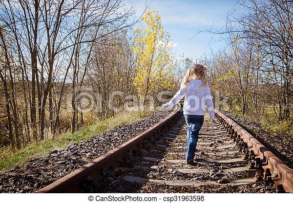 child walking in railway - csp31963598
