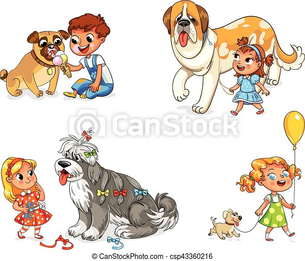Child walking with dog - csp43360216