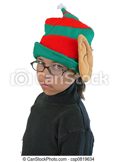 child wearing elf hat girl wearing elf hat