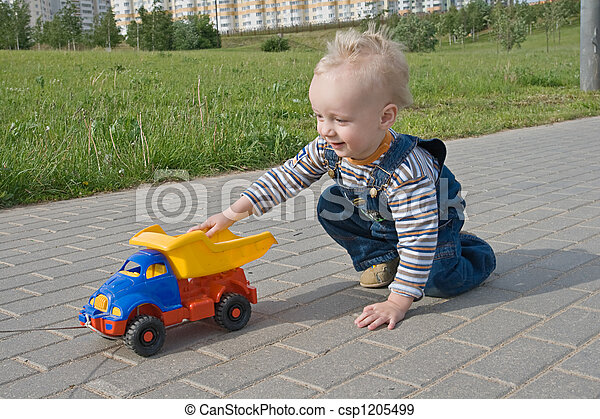 Child with a toy truck - csp1205499