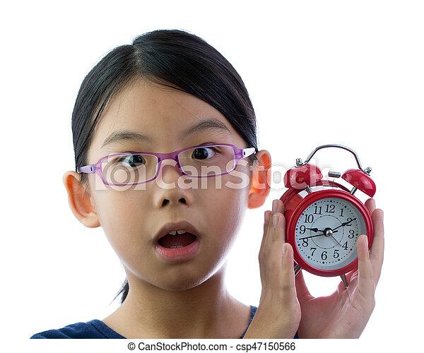Child with alarm clock - csp47150566