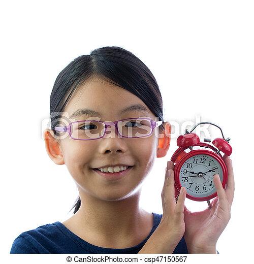 Child with alarm clock - csp47150567