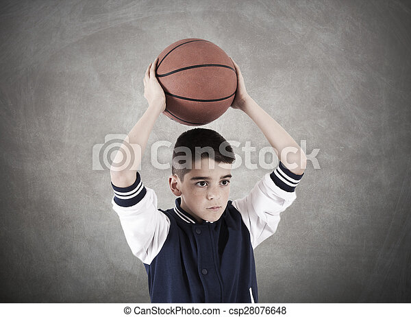 child with basketball on background - csp28076648