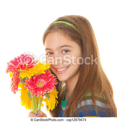 child with bunch of flowers - csp12979474