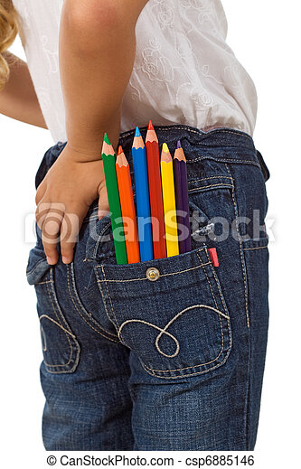 Child with color pencils in back pocket - csp6885146