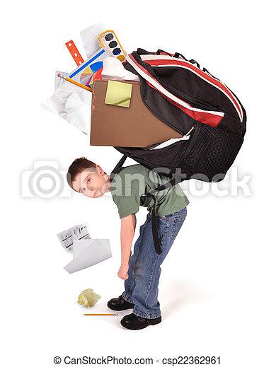 Child with Heavy School Homework Book Bag - csp22362961