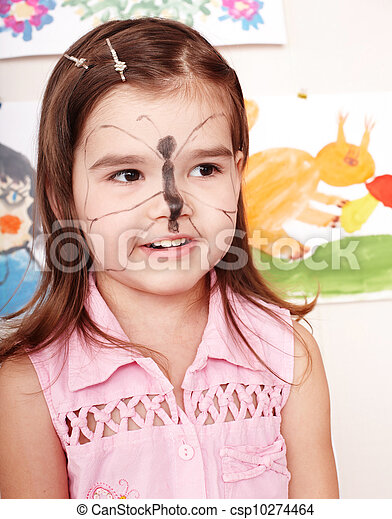 Child with paint of face. - csp10274464