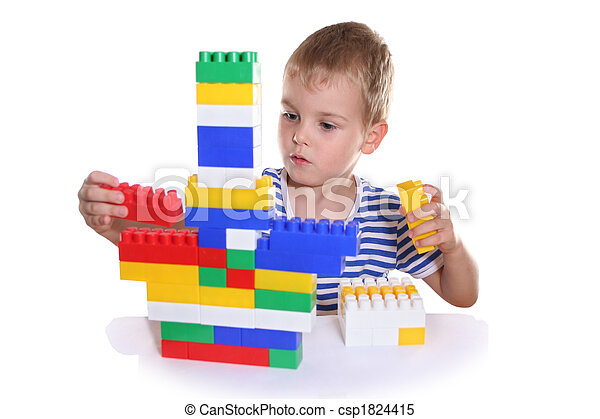 child with toy blocks - csp1824415