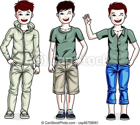 child young teen boys group standing wearing different clip art rh canstockphoto com Girls United Group Clip Art