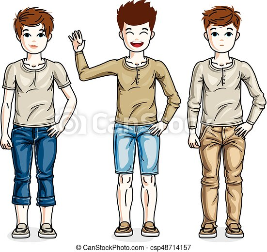 c539e81a87 Child young teen boys group standing wearing different casual clothes.  Vector diversity kids illustrations set. Childhood and family lifestyle  clip ...