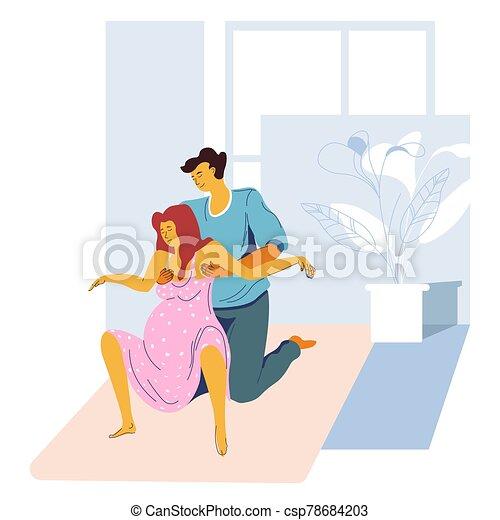 Childbirth preparing, giving birth position, pregnant woman and husband - csp78684203