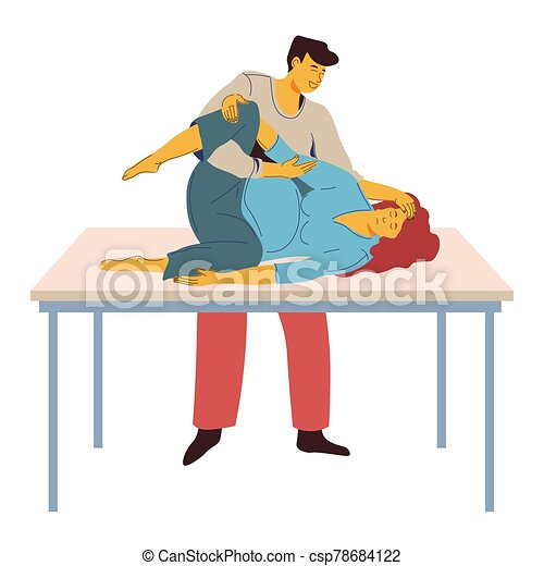 Childbirth preparing, woman with contractions on table and man helping - csp78684122