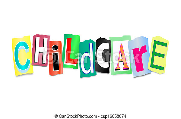 childcare concept illustration depicting cutout printed letters rh canstockphoto com childcare clipart images childcare clipart free