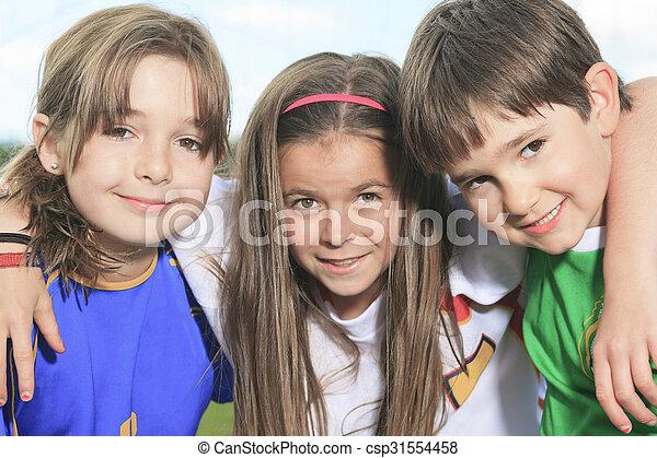 childen, nyár, játék, futball, évad - csp31554458