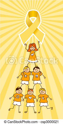 Childhood Cancer Ribbon on top of a Children Tree - csp3000021