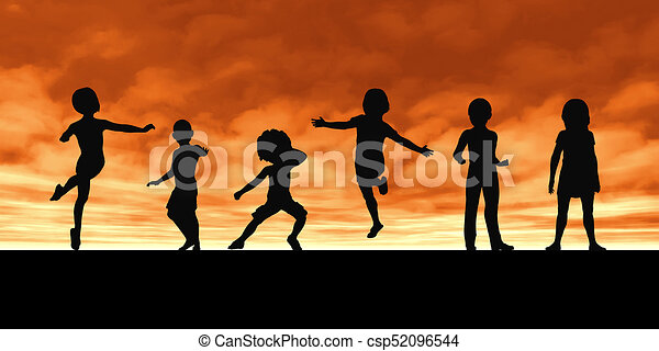 Childhood memories and children playing in a group.
