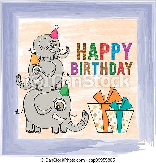 Childish Birthday Card With Funny Elephants